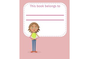Girl Holds Book and Place for Signing Illustration