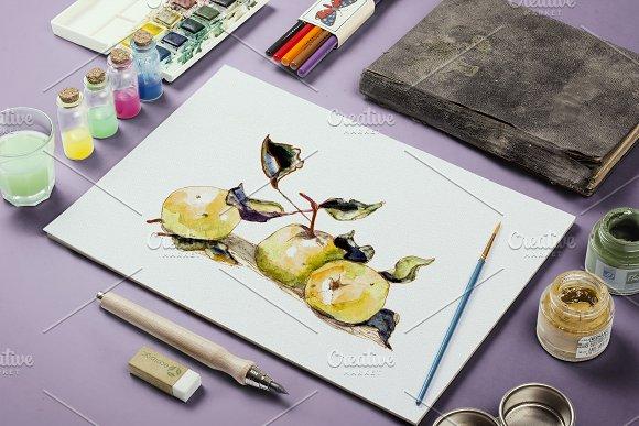 Watercolor Yellow Apples