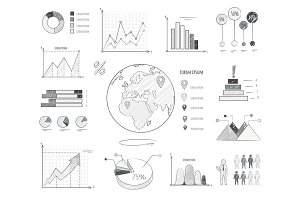 Earth Population Statistics Charts Illustration