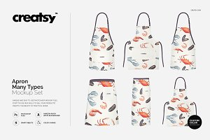 Apron Many Types Mockup Set