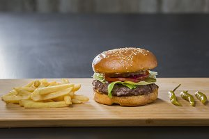 Fresh appetizing burger with green pepper