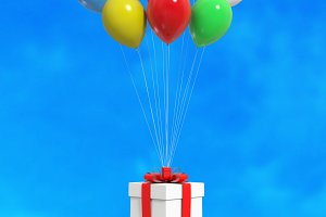 Balloons with gift box