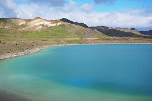 Volcano crater Viti with turquoise lake inside, Iceland