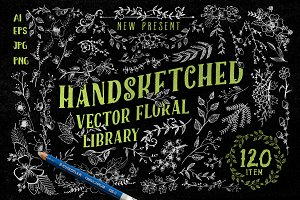 Handsketched Vector Floral Library