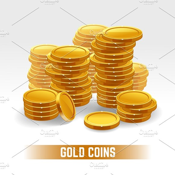 Gold Coins Vector Pile