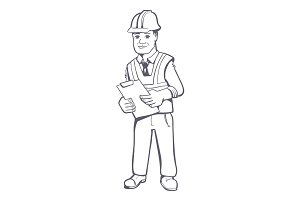 Construction manager illustration
