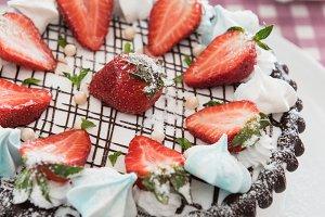 Tasty strawberry cream cake