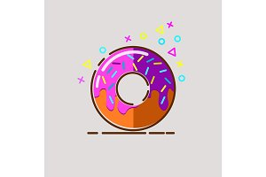 Donut delicious with sprinkles on background.