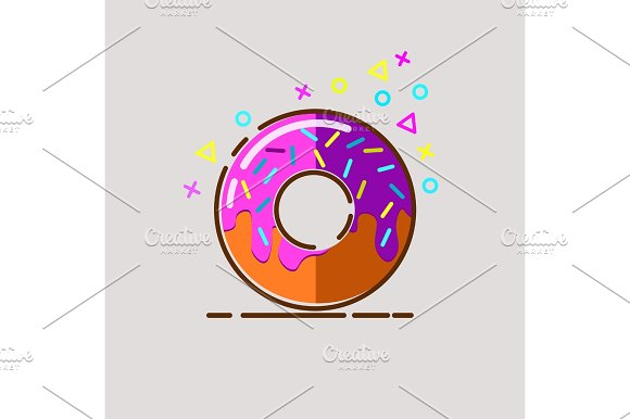 Donut Delicious With Sprinkles On Background