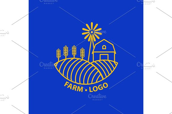 Farm Concept Logo Template With Farm Landscape Label For Natural Farm Products Gold Logotype Isolated On Blue Background Vector Illustration