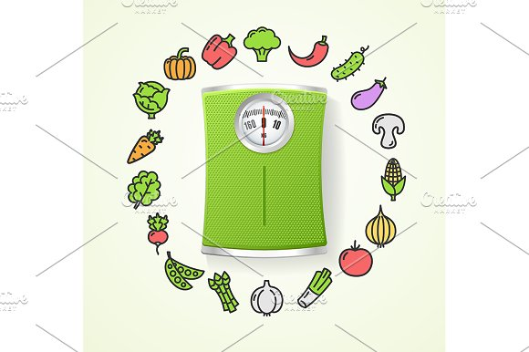 Vegetables And Floor Scales Health
