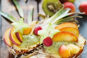 Exotic fruit salas in pineapple half