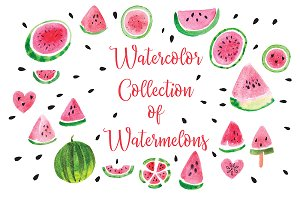 Watercolor Collection of Watermelons