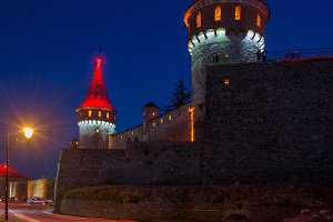 Night view of ancient castle