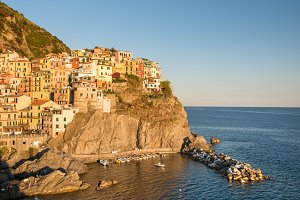 Manarola town at sunset