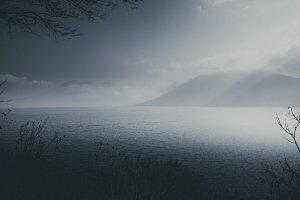 Minimal Dark foggy Mountain Lake