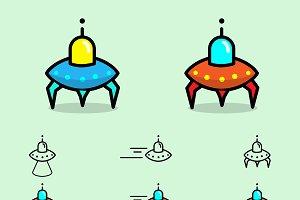 Alien Spaceship Vector Pack