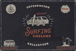 Vintage Surfing Emblems Set