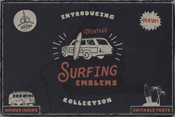Vintage Surfing Emblems Set