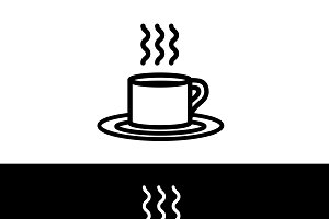 Coffee Cup Black & White Icon