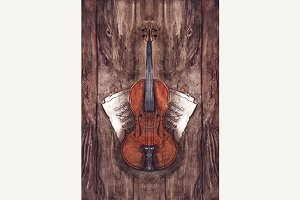 Watercolor violin music instrument