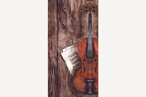Watercolor violin music instrument
