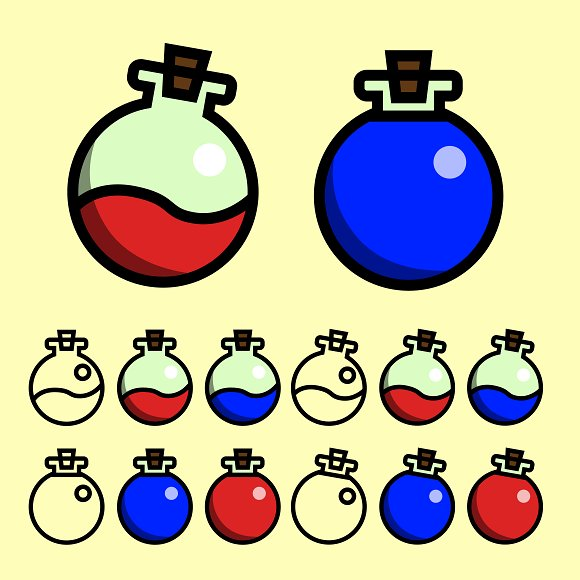 Mana And Health Potion Vector Pack