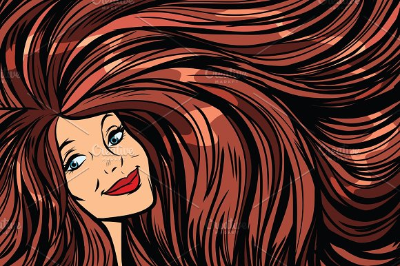 Joyful Woman Background With Long Hair Right