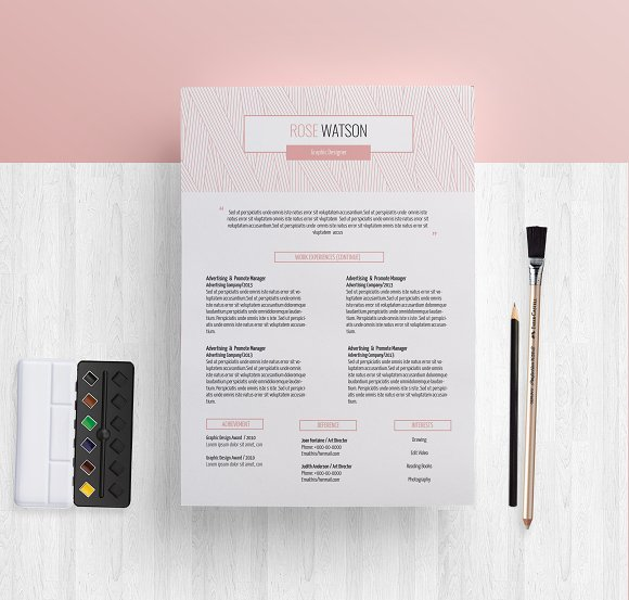 Pinkline Pattern CV ResumeTemplate G