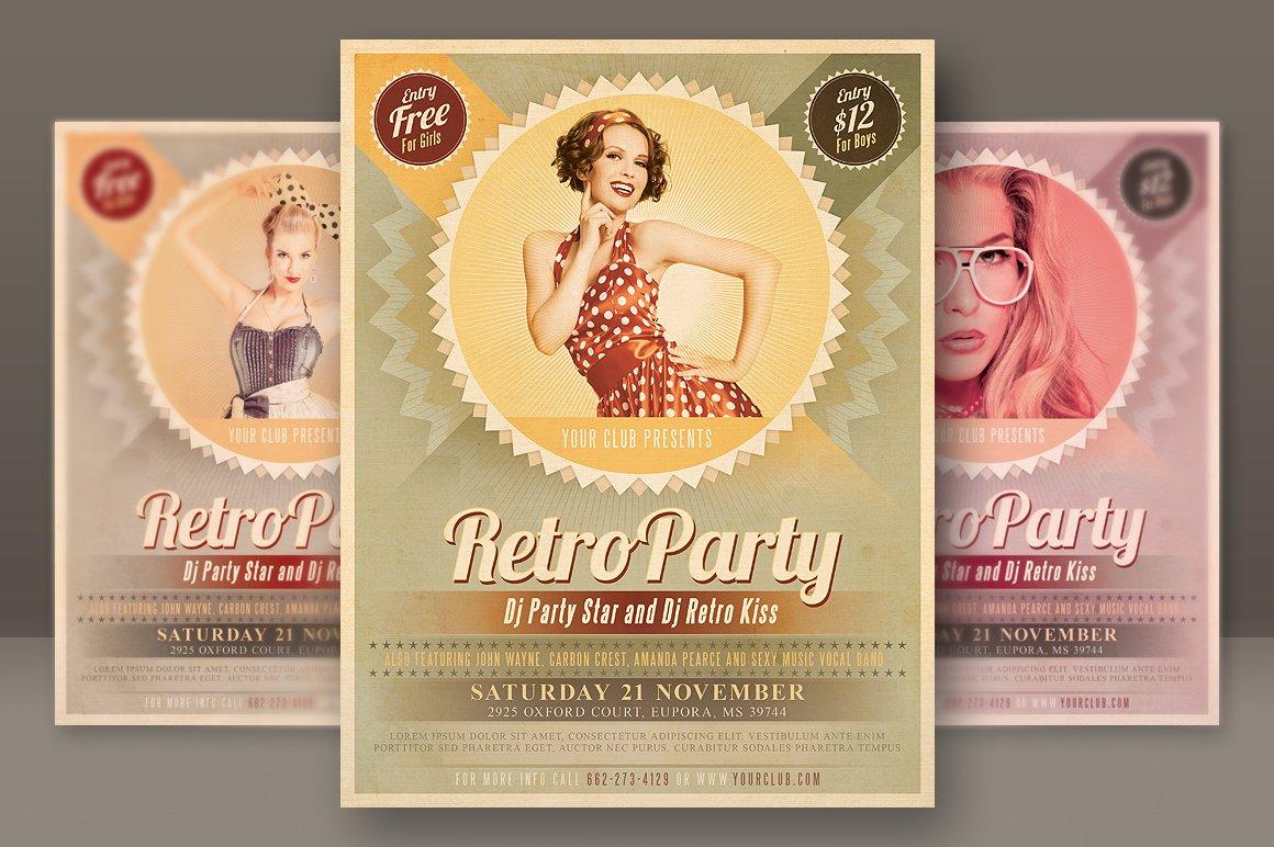 Retro party flyer flyer templates creative market maxwellsz