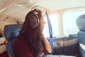 Airplane woman passenger