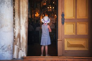 Little girl and church