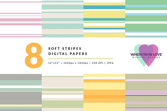 Digital Papers Soft Stripes