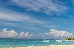 Tropical beach Nusa Dua, Bali island, Indonesia. Paradise place.