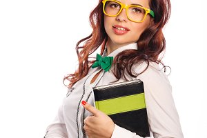 Girl with glasses with notebook