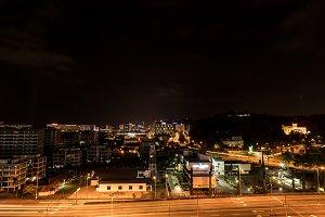 Kota Kinabalu city at night, evening scene in Malaysia.