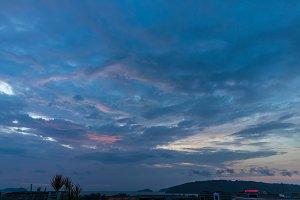Background cityscape of Kota Kinabalu city at sunset, Malaysia.