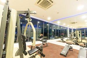 Equipment And Machines At The Modern Gym Room Fitness Center, Kota Kinabalu.