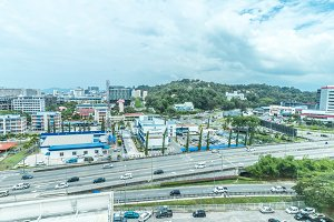 Cityscape of Kota Kinabalu, Malaysia.