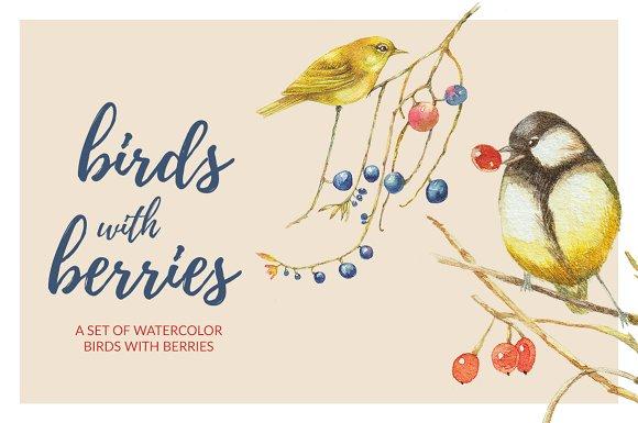 Birds Berries Watercolor Set