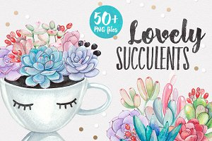 LOVELY SUCCULENTS watercolor set