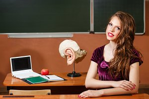 Student in the classroom anatomy