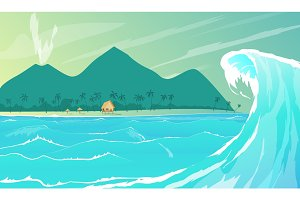 Seaside resort cartoon vector illustration