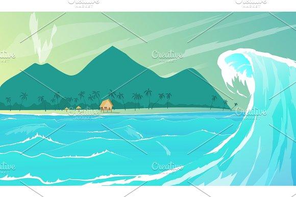 Seaside Resort Cartoon Vector Illustration