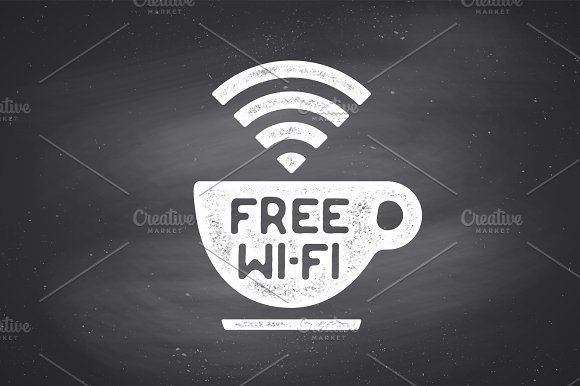 Poster With Cup Of Coffee And Text Free WiFi
