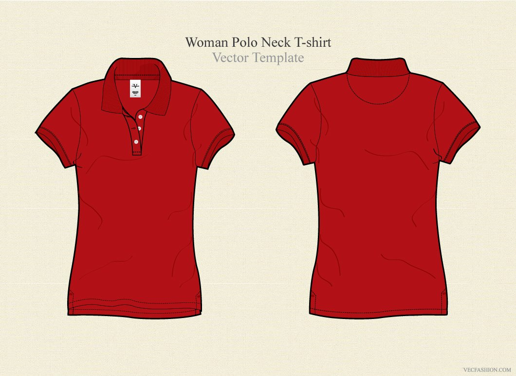 Woman polo neck t shirt vector illustrations creative for T shirt templates vector