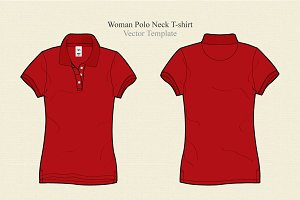 Woman Polo Neck T-shirt Vector
