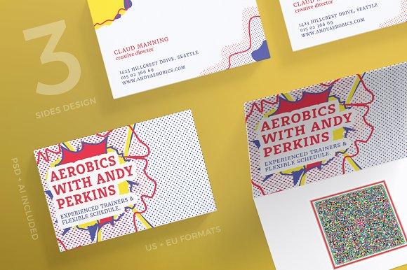 Business Cards Aerobics Business Card Templates Creative Market