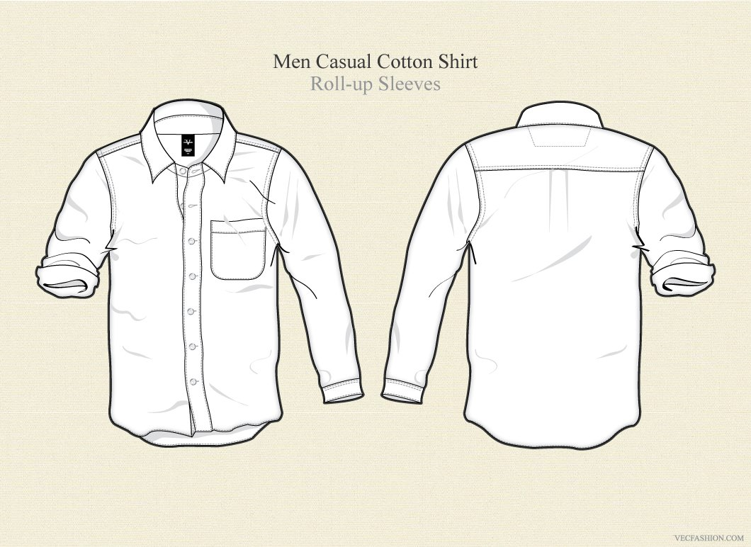 Men Casual Cotton Shirt Vector Illustrations Creative Market