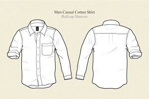Men Casual Cotton Shirt Vector